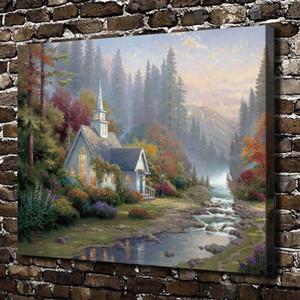 Cappella Foresta Paesaggio, Thomas Kinkade, Pittura HD Stampa su tela nuova decorazione della casa di arte / Unframed / Framed