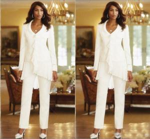 Africano Elegante Bianco Maniche Lunghe Madre Della Sposa Pantalone Chiffon Due Pezzi Abiti Da Sera Convenzionali Abiti Da Sposa Su Misura