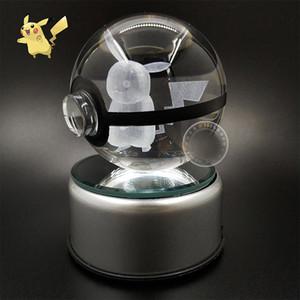 Noel Malzemeleri 3D K9 Kristal Sihirli Topu LED Lamba Pokemens Serisi ikachu / Gengar / Jigglypuff Figrye Rakamlar Oyuncaklar Masaüstü Dekorasyon Işık