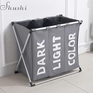 Shushi Hotselling À Prova de Água Três Grade Lavanderia Organizador Saco De Lavandaria Suja Hamper Dobrável Casa Saco de Armazenamento De Cesta De Lavanderia T190708