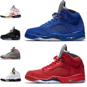 Newest 5 5S Basketball Shoes INTERNATIONAL FLIGHT Black white grape metallic silver Olympic mens shoe athletic sport desigsner sneaker PE