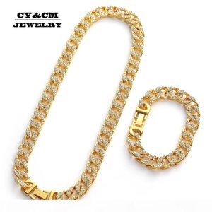 Hip Hop Iced Out Rhinestone Gold Silver Plating Necklaces for Mens Miami Cuban Link Chain Long Necklace Bracelets Jewelry 13mm
