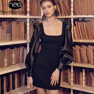 Robe femme manches longues col carré noir Robe crayon dames élégantes robes Slim solide Couleur Automne Vestidos