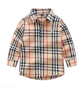 Shirts os meninos outono primavera shirt Casual Collar de abertura de cama completa Crianças da manta de manga roupas de algodão Baby Kids Para 3-7 anos
