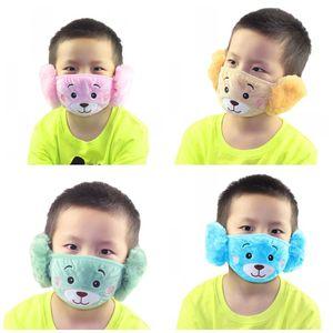 Populaire 2 Dans 1 Oreille de protection Ours Emoji Broderie Enfants Bouche Masque Masques anti-poussière Visage Fit Kids Party Gifts 2 9jzj E19