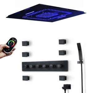 600 * 800mm 블루투스 음악 LED 샤워 헤드 폭포 강수량 안개 샤워 5 기능 온도 조절 수도꼭지 믹서 (6) 바디 제트 스파 샤워 세트