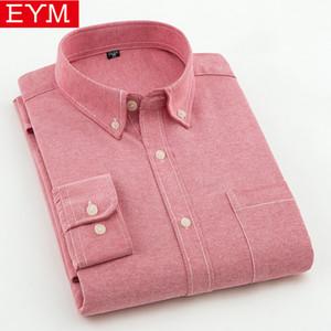 Eym Marque Casual Chemises Printemps Nouveau Solide Blanc Hommes Oxford Robe Jeunesse Style Plus La Taille Mâle Chemise Vêtements Q190517