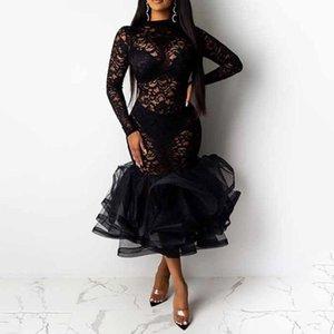 Повседневные платья сексуальные полые у женщин платье русалки 2021 черный плюс размер кружева rufffle труба MIDI вечеринка ужин клуб женские вестодиоды халат