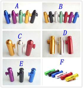 Aluminum metal Bullet Rocket Shaped Snuff Snorter Sniff Dispenser Nasal Endurable For Tobacco Cigarette Smoking Pipe Tools 7 colors 6 styles