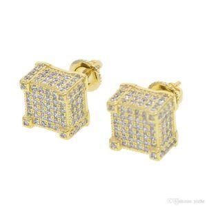 geometric micro pave cz screwback earring for girl women men boy lab diamond hiphop clear cz sparking bling screwback studs ear jewelry