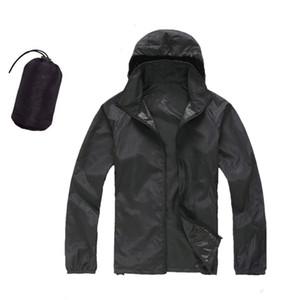 МужчиныЖенские быстросохнущие кожаные куртки Водонепроницаемые анти-УФ пальто Спортивная одежда на открытом воздухе Отдых Туризм МужскойЖенская куртка с капюшоном от дождя