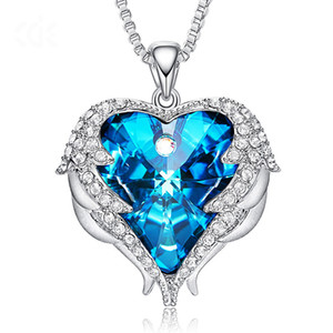 Luxury Heart Swarovski Pendant Necklaces Crystal Pendant Blue Ocean Heart Love Pendant Necklace For Women Girls Gifts