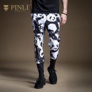 Pinli 2020 Summer New Slim Panda imprimé pantalon crayon élastique Splice bande de caoutchouc hommes occasionnels pantalons longueur cheville Hot B202317213