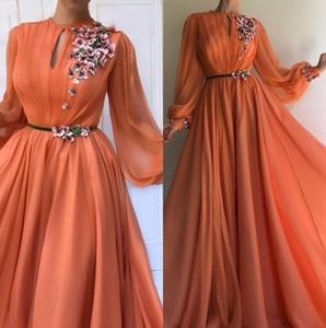 Elegant orange lange Ärmel Blumen Dubai Abendkleider 2020 A-Line Chiffon islamische Saudi-arabisches Lange Abendkleid Robe de Soiree BM0844