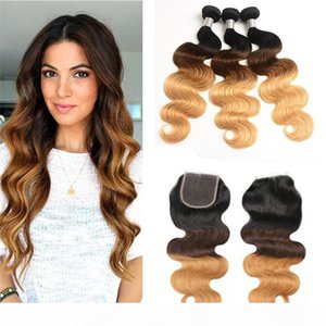 Best Ombre Virgin Hair Weave Bundles with Closure 3 Tone Blonde 1B 4 27 Ombre Brazilian Body Wave Human Hair Extensions with Closure
