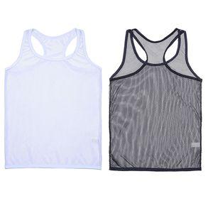 Sexy Mens Résille See-through Stretchy Vest Tank Top Lingerie Undershirt manches Homme Pyjamas Homme Sous-vêtements Mesh Tank Top