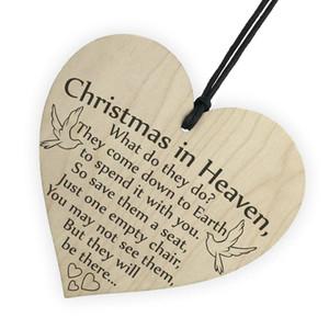 Adornos navideños para decoración de árboles Navidad en el cielo Signo de placa de corazón de madera Amistad Colgante de decoración del hogar