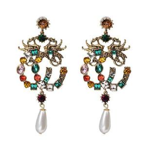 Al por mayor de moda bohemia colorido cristal gotas de agua Cartas pendiente perla cuelga los pendientes de las mujeres del encanto retro de joyería y accesorios