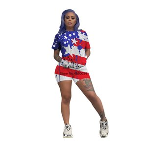 2020 Summer Women Two Pieces Sets Tracksuits O-Neck Flag Print Tops Shorts Suit Sporty Fitness Night Club 2 pcs Outfit
