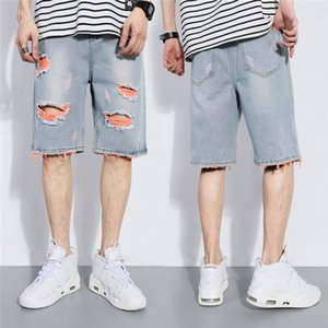 Plus Size Mens Demin Shorts Casual solta Hetero Buraco curto Skate Summer Fashion Homens Buraco Demin Shorts