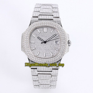 Top auality 5719 / 10G-010 en or blanc 18 carats entièrement pavé de diamants Cal.8215 automatique Mens Diamond Watch Bracelet Diamond Dial Luxry Montres