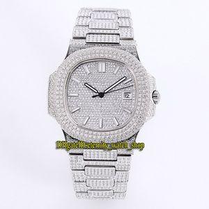 Top Auality 5719 / 10G-010 18k Oro blanco Pavimentado completamente con diamantes Cal.8215 Reloj automático para hombre Diamond Strap Dial Dial Luxry Watches