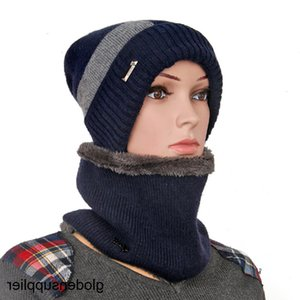 Hat men's knitted hat plush thickened women's wool pullover hat outdoor scarf cap