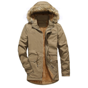 Men Jacket Winter Washed Parkas with Hooded Plus Velvet Casual Clothes 2018