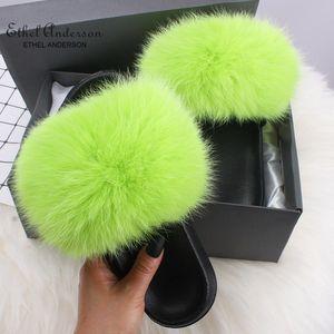 Genuine Fox capelli ciabatte donna Flip Flop diapositive della spiaggia di estate pelliccia di Fox Slides sandali più le scarpe donna 1pairs / 2pcs