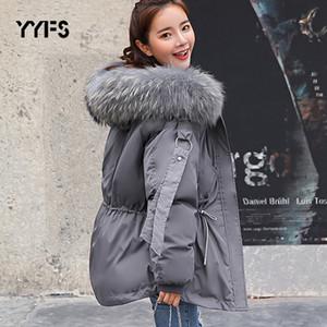 2019 chaqueta de las mujeres capa del invierno Mujer con capucha Parkas invierno flojo femenino Parka gran cuello de piel desmontable de algodón acolchado Chaquetas 2XL V191209
