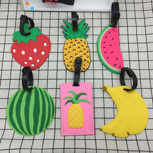 Obst Luggage Tag nette kreative Silikagel-Koffer Tag Boarding Tags Name ID Adresse Tel Label-Reise-Accessoires