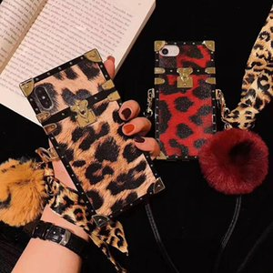 Luxury brand Square leopard pattern Hairball soft silicon phone case for iphone 6 7 8 plus X XR MAX 11 Pro 2020 SE Scarves cover