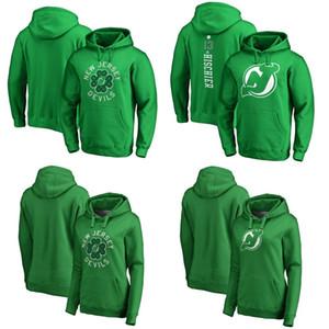 New Jersey Devils Verde Día de San Patricio Luck Tradition Pullover Hoodie 13 Nico Hischier 17 Kenny Agostino 5 camisetas de hockey Connor Carrick