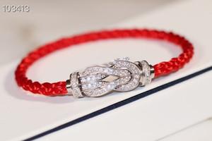 Fuerza de lujo 10 Diseñador clásico zapato de cristal completa Caballo de plata esterlina s925 Cuerda Hebilla Con Rojo Tamaño de la pulsera 17-20cm para hombres y mujeres