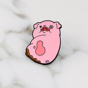 Мультфильм Милый Розовый Свинья Свинья Розовый Животных Эко Нагрудный Знак Шляпа Эмаль Булавка Эмаль Броши Булавка Для Женщин