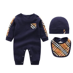 Herbst-Art-Baby-Jungen-Mädchen-Strampler 100% Baumwolle Langarm Plaid Baby-Overall + Hat Lätzchen 3Pcs Beiläufigen Ausstattung Neugeborene Baby-Kleidung