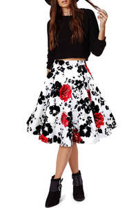 Mini-jupe en coton Vintage Femmes Sexy Summer Jupe taille haute évasé Floral Jupe plissée femmes pas cher En Stock FS0223