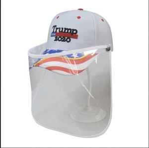 Trump Cap Mask Make America Great Encore une fois broderie de baseball Chapeau 3D amovible extérieure Masques de protection transparent Chapeau bouclier visage LJJA4043-1