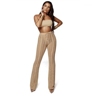 Out Sexy Solid Color Drawstring Pants Woman Designer Luxury Clothes Summer Female Designer Flare Pants Hollow