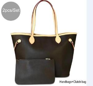 2pcs set high qulity womens handbags flower ladies composite tote PU leather clutch shoulder bags female purse with wallet