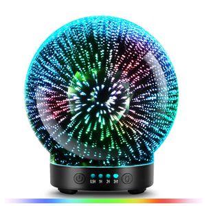 3D vetro diffusore, Aromaterapia ultrasuoni Olio Essenziale versione umidificatore, Modalità d'artificio 100ml 7Color luci cangianti T200601