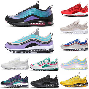 2019 Nike Air Max 97  Discount Throwback Future Haben Sie einen Tag Black Ember Glow Red Triple White Damen Sport Sneakers 36-45