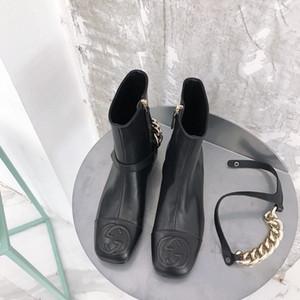 Donne Breve Genuine Leather Stivali Classic catena di metallo Moda semplice stivaletti Classic joyf