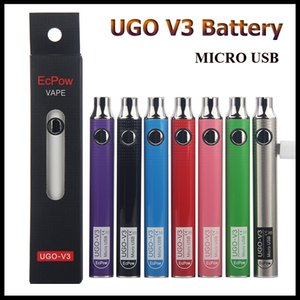 Auténtica batería EcPow UGO V3 650mAh 900mAh Precalentamiento VV Micro USB Carga Vape Pen Batería para cartuchos de aceite grueso con cargador USB