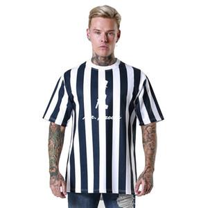 Nouveau Hip Hop Hommes T-shirt d'été O-cou T-shirt des hommes Street Wear Casual Top Chemise rayée T-shirts