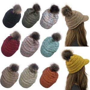 Invierno Mujeres confeti punto Hat Warm Caps Pom Pom colorido de las lanas del sombrero Señoras cráneo Beanie sólido femenino deportes al aire libre ZZA871