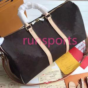 2020 Keepall Luis bolsa de lona de lujo del diseñador 45 50 55 hombres llenos de equipaje deportivo de cuero marrón genuino L de la flor bolsas de viaje patrón 00b49c #