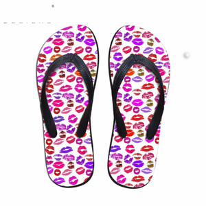 Customized Sexy 3D Lips Pattern Women House Flip Flops Fashion Summer Beach Water Shoes Woman Slip-on Slippers Flats Sandals