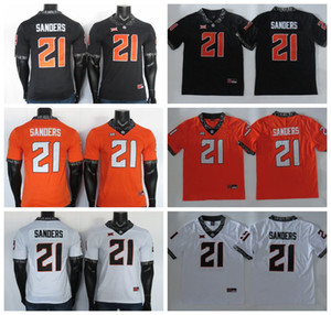 2019 NCAA Oklahoma State Cowboys Jersey 21 Barry Sanders Jersey Noir Blanc Orange College Football Jersey Cousu 150E