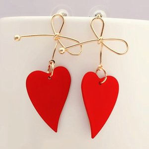 2020 Fashion Earing Gold Color Heart Geometric Drop Earrings for Women Brincos Vintage Red Green Yellow Earring Irregular Jewelry